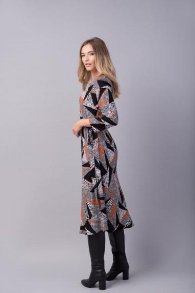 Rochia Couture de Marie JOY neagra cu portocalie