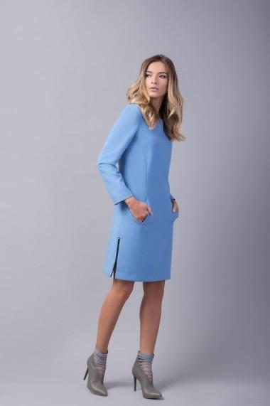 Rochie Couture de Marie bleu dreapta cu buzunare HOPE