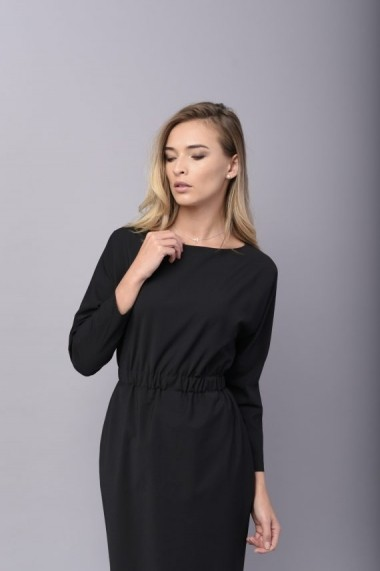 Rochie Couture de Marie conica neagra din lana cu buzunare WONDER