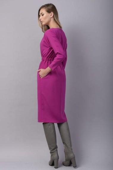 Rochie Couture de Marie conica roz cu buzunare WONDER