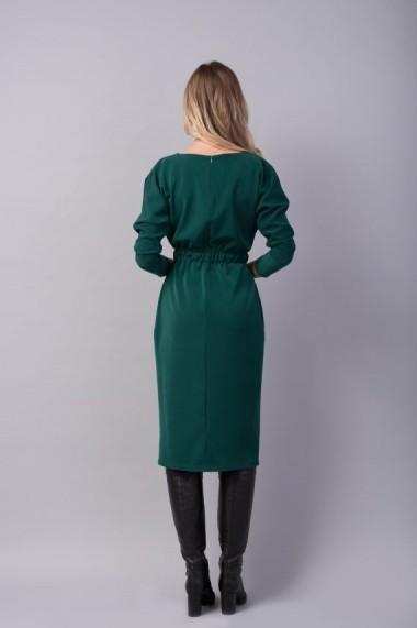 Rochie Couture de Marie conica verde cu buzunare WONDER