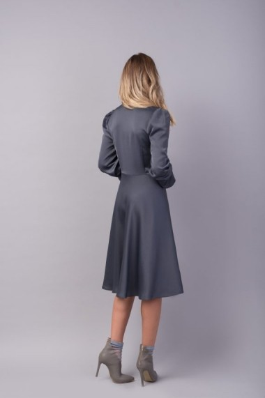 Rochie gri perlat Couture de Marie cu esarfa ATTITUDE