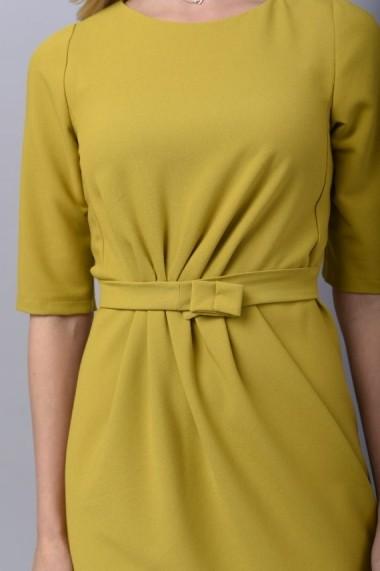 Rochie Couture de Marie din crep cu pliuri asimetrice LOVE galbena