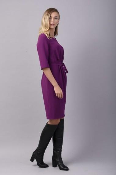 Rochie Couture de Marie din crep violet cu pliuri asimetrice LOVE