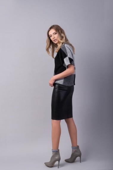 Fusta conica din piele ecologica Couture de Marie neagra FEEL
