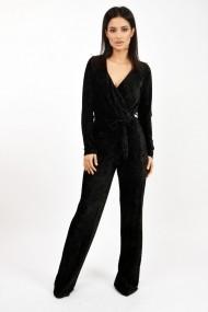 Salopeta Lille Couture din catifea plisata Negru