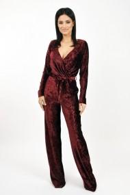 Salopeta Lille Couture din catifea plisata Grena