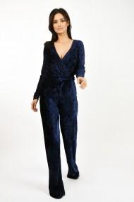 Salopeta Lille Couture din catifea plisata Bleumarin