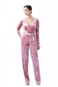 Salopeta Lille Couture din catifea uni Roz