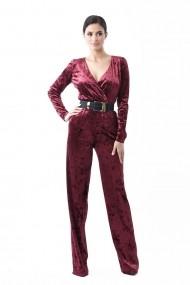 Salopeta Lille Couture din catifea uni Grena