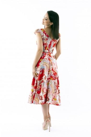 Rochie midi de zi Lille Couture din matase sintetica Roxy, multicolor