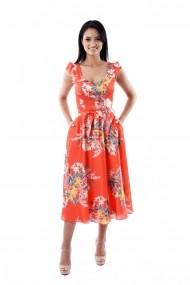 Rochie de zi Lille Couture LIL 19RZL 002 din matase sintetica Roxy, muticolor