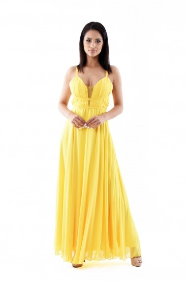 Rochie de zi Lille Couture din voal Ani, galbena