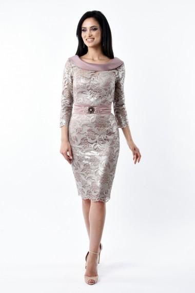 Rochie midi Lille Couture din dantela Ina, roz prafuit