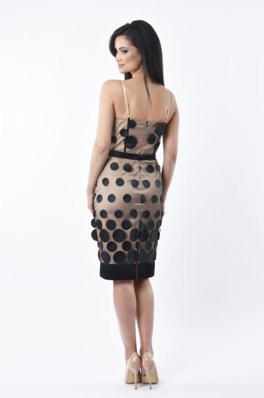 Rochie midi de seara Lille Couture LIL 19RSM 009 din tulle cu buline, Liliana, bej