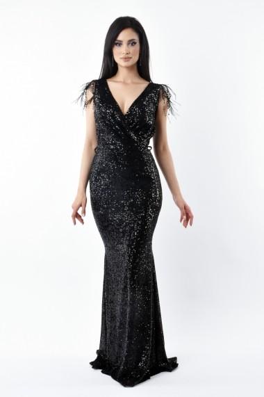 Rochie lunga de seara Lille Couture din paiete Patricia, neagra