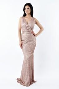 Rochie lunga de seara Lille Couture din paiete Patricia, roz prafuit