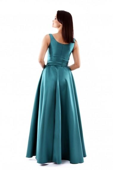 Rochie lunga de seara Lille Couture din tafta, Izabela, verde