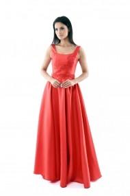 Rochie lunga de seara Lille Couture din tafta, Izabela, rosie 1