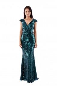 Rochie lunga de seara Lille Couture din paiete Patricia, verde