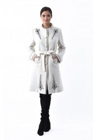 Palton Lille Couture tesatura bucle Iarina Alb