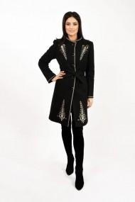 Palton Lille Couture tesatura uni Iarina Negru