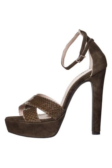 Sandale cu toc Hotstepper Stripes Amazon Green Kaki