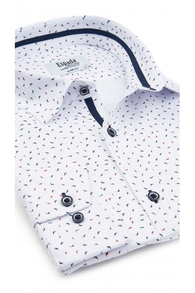 Camasa ESPADA MEN`S WEAR slim fit casual alba cu imprimeuri colorate