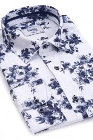 Camasa ESPADA MEN`S WEAR casual din in slim fit alba cu imprimeu trandafiri