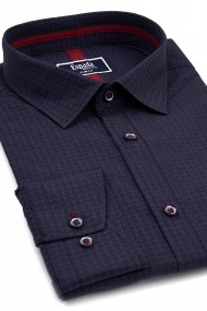 Camasa ESPADA MEN`S WEAR slim fit albastra cu puncte rosii si dungi