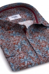 Camasa ESPADA MEN`S WEAR slim fit cu print floral multicolor grena-albastru