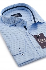 Camasa ESPADA MEN`S WEAR elegant slim fit bleu cu imprimeu discret
