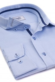 Camasa ESPADA MEN`S WEAR office slim fit alba cu dungi bleu