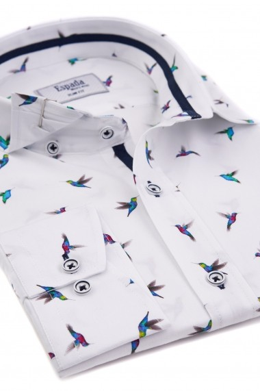 Camasa ESPADA MEN`S WEAR casual slim fit print pasari colibri