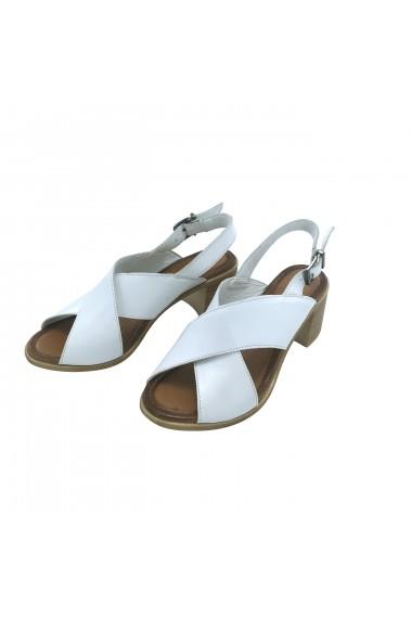 Sandale cu toc piele naturala Torino, 1350 alb