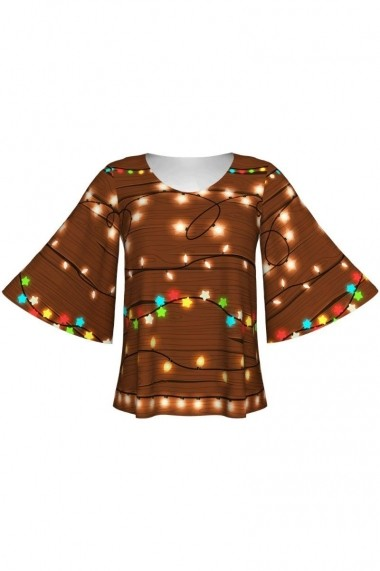 Bluza cu maneci tip fluture imprimata digital LIGHTS A845C11