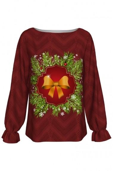 Bluza Dames imprimata Christmas Ribbon A842C4