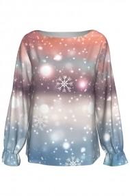 Bluza imprimata digital cu elastic la maneci Snowflakes A842-16