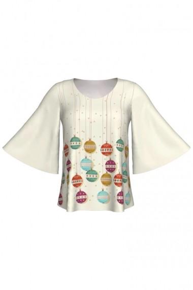 Bluza Dames cu maneci tip fluture imprimata digital Globes A845C9