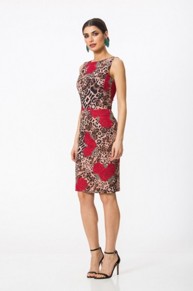 Rochie midi conica Dames Jaguar Rose cu imprimeu digital DP008AP