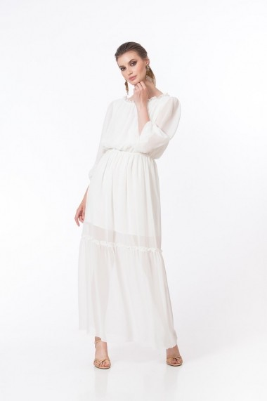 Rochie de zi Dames lunga din voal alb DP029A