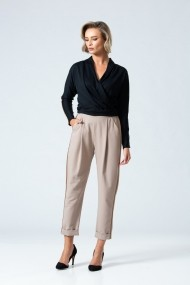 Pantaloni drepti eleganti PREMIUM cu plii DP047