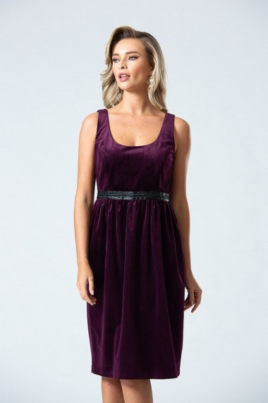 Rochie midi eleganta PREMIUM din catifea cu buzunare DP045