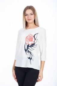 Bluza casual cu maneca raglan trandafir floral M1098