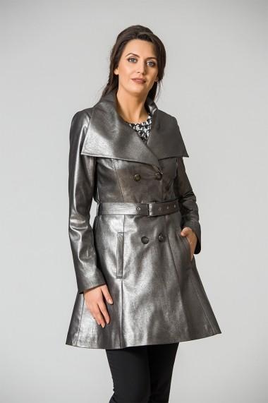 Pardesiu elegant argintiu din imitatie de piele DP153