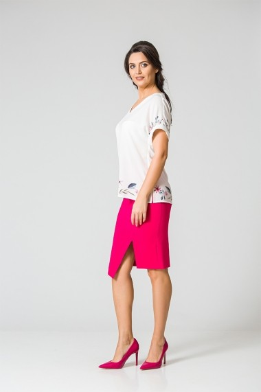 Bluza Dames eleganta alba cu imprimei digital DM107