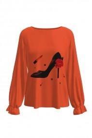 Bluza portocalie cu imprimeu digital My Passion DM163