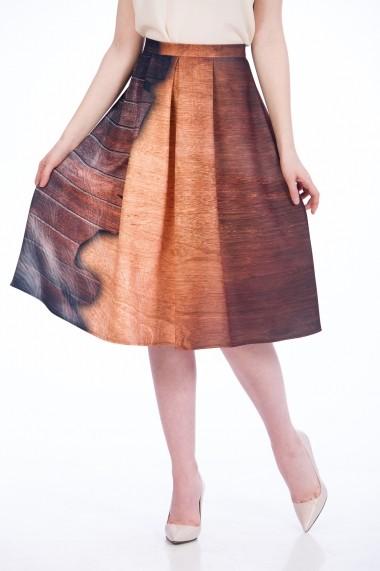 Fustă cu pliuri imprimată Wood A817WL