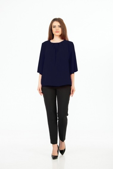 Bluza eleganta bleumarin cu plii M1085N