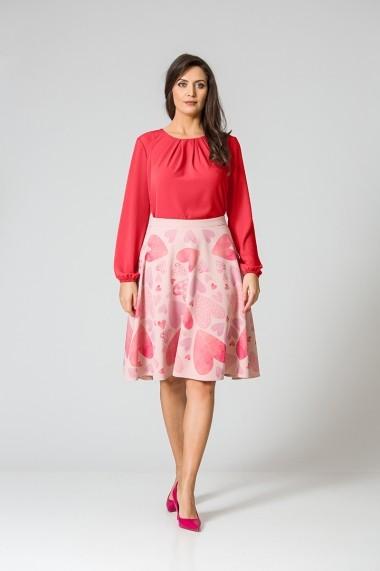 Bluza office cu plii si maneca lunga rosie DM128R